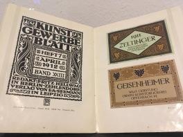 Von Peter Behrens entworfene Wein-Etiketten, vor 1911