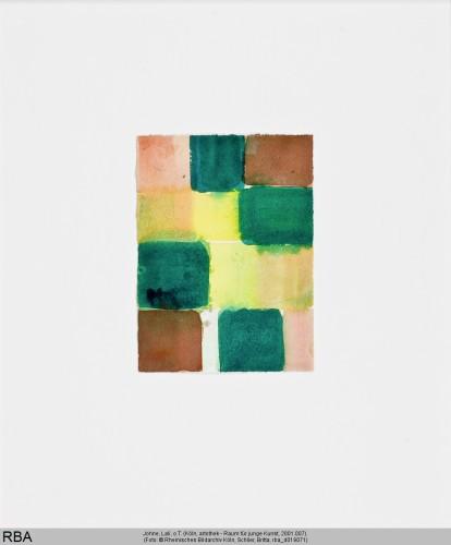 Johne, Lali, o.T., Aquarell grün, gelb, braun, rosa, 1994 (Köln, artothek - Raum für junge Kunst, 2001.007.  (Foto: © Rheinisches Bildarchiv Köln, Schlier, Britta, rba_d019071)