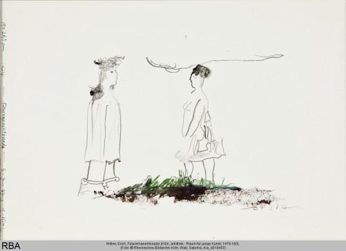 Wilker, Erich, Futuremanentonade, Bleistift & Kreide & Tusche : Bütten, 1977 (Köln, artothek - Raum für junge Kunst, 1978.160.  (Foto: © Rheinisches Bildarchiv Köln, Walz, Sabrina, rba_d019465)