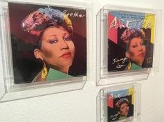 Gestaltung eines Albums von Aretha Franklin nach einem zuvor gefertigten Portrait von Andy Warhol.